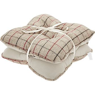 Taupe Grid Check Seat Pads