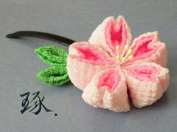 Polished Tsumami Kanzashi. Duo Pink Sakura Flower Cherry Blossom Tsumami Kanzashi Chirimen Crepe Fabric Hair Clip PolishedKanzashi  $25.99