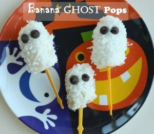 Banana Ghost Pops -- I made something similar to this a couple days ago, and used almond butter in place of yogurt.  Worked great, and girls loved it!!