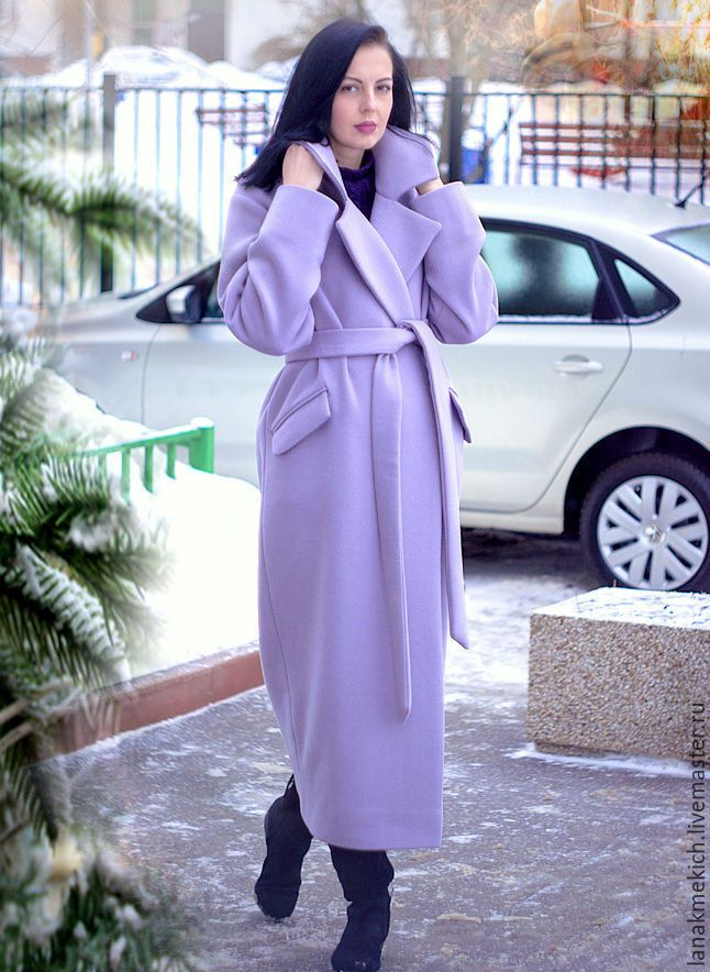 """Купить Пальто- халат  с поясом """"Нежно-васильковое ..."""" - васильковый, пальто, сиреневое, пальто на заказ"""