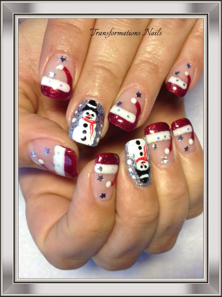 #christmas nails #santa hat #snowman #red white nails #star nails #shine fancy nails.