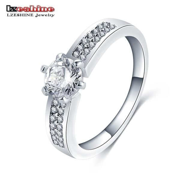 FuzWeb:LZESHINE New Summer Engagement Ring Silver Color AAA Zirconia Ring bijoux Women bagues Promotion Price CRI0258-B