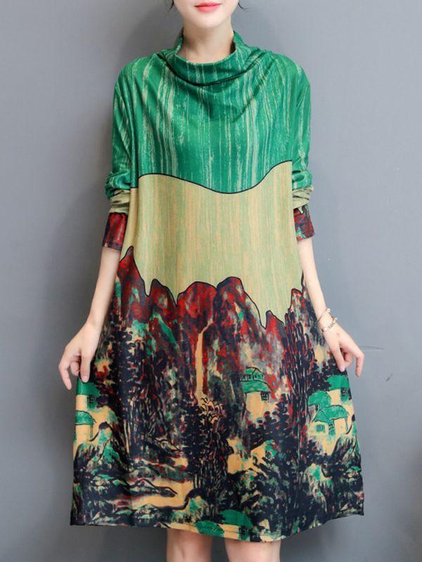 Elegant Women Printed Turtleneck Loose Long Sleeve Dress Floral Dresses Hamp M Floral 15 Loose Long Sleeve Dress Long Sleeve Dress Casual Dresses For Women