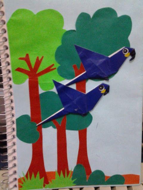 flor de maio  origami decora u00e7 u00e3o em capa de caderno arara