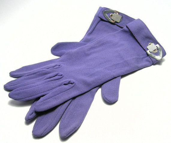 Vintage 1960s Purple Gloves with Silver Tone Wrist by SwankyJewels