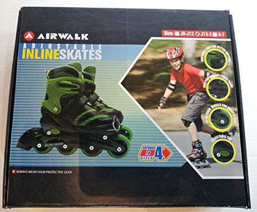"Airwalk Adjustable Inline Skates for children. Model type is Escape. Black/Green in color, size J13-3. Expands to size 4 sizes.   	 		 			 				 					Famous Words of Inspiration...""Perpetual optimism is a force multiplier.""					 				 				 					Colin Powell 						— Click here for... more details available at https://perfect-gifts.bestselleroutlets.com/gifts-for-teens/skates-skateboards-scooters/product-review-for-airwalk-adjustable-inline-skates-for-kids-black-g"