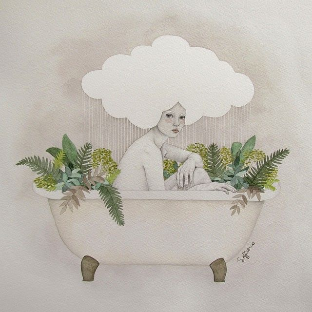 Hydra #art #soffronia #illustration #cloud #bathtub #plants #rain #girl #woman #hydra #watercolor #sofiabonati