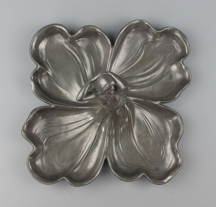 WMF - Art Nouveau pewter hors d'oeuvre dish - decorated with a female figure