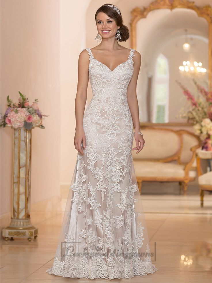 Elegant Straps Sheath Lace Over Wedding Dress with Low Back