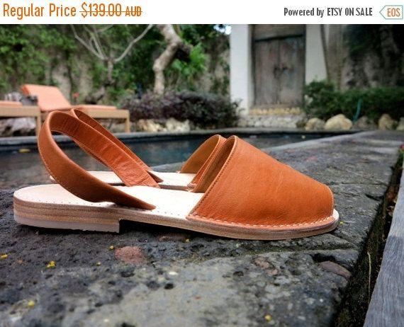 FLASH SALE TUSK Leather Sandal Tan Slingback no strap  Womens