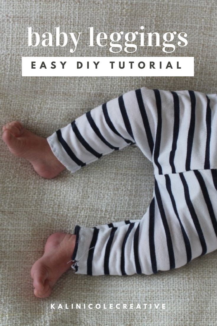 Quick and easy DIY refashion and sewing tutorial for transforming men's tees into baby leggings. No elastic, snaps, or zipper!