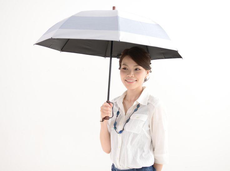 2段折 ボーダー 完全遮光日傘、日光紫外線アレルギー対策専門店【サンバリア100】