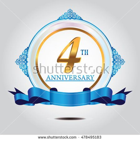 4th anniversary golden logo with soft blue ring ornament and blue ribbon