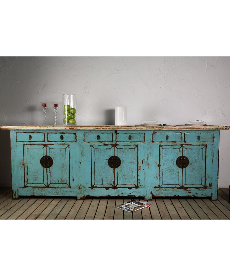 Long Beijing Sideboard Blue - Chinese Furniture
