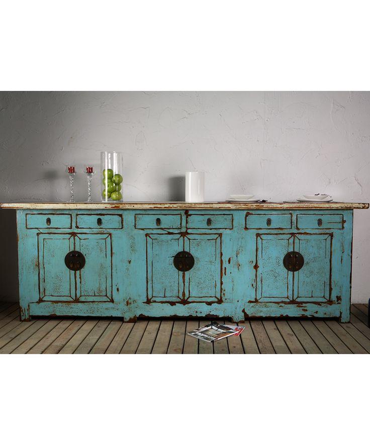 Long Beijing Sideboard Blue - Chinese Furniture