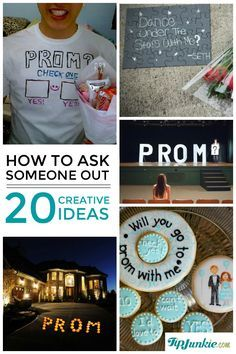 Wondering how to ask someone out for Prom, Homecoming Dance, or just on a date night? Well, I've hooked you up with 20 creative ways to ask someone out! You can tweak these ideas for either a girl or guy and use your own style to pull off a memorable 'prom-posal'. {snicker} How To Ask 1. How To Ask to Prom Cookies ~ Oh my gosh how adorable are these 'Will you go to Prom with me' cookies. I just adore how all the answers are there as well. {my fav!} How To Ask A Girl ...