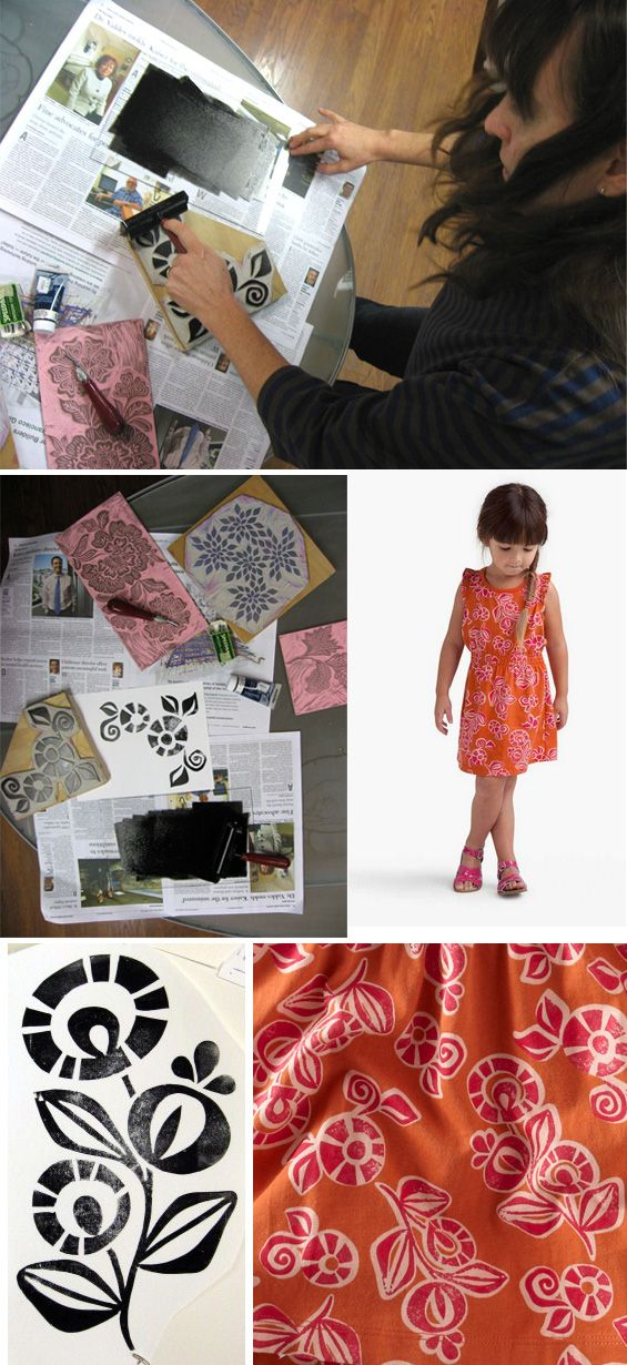 Tea textile designer uses linoleum block printing to create the graphic for the Sanur Floral Sporty girls dress.
