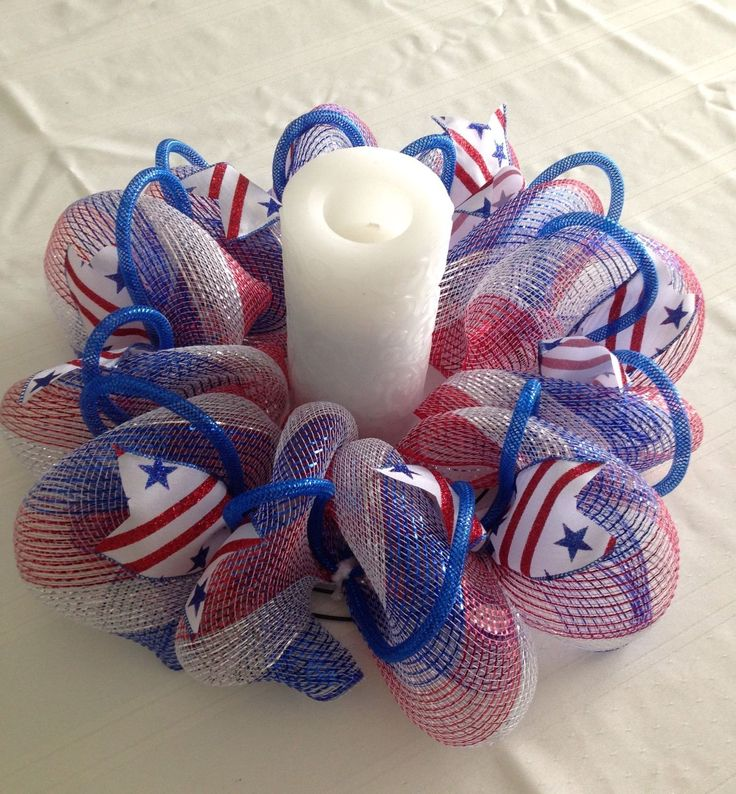 Mesh Table Centerpiece Candle Holder Red White Blue with Ribbons and Tubing | eBay