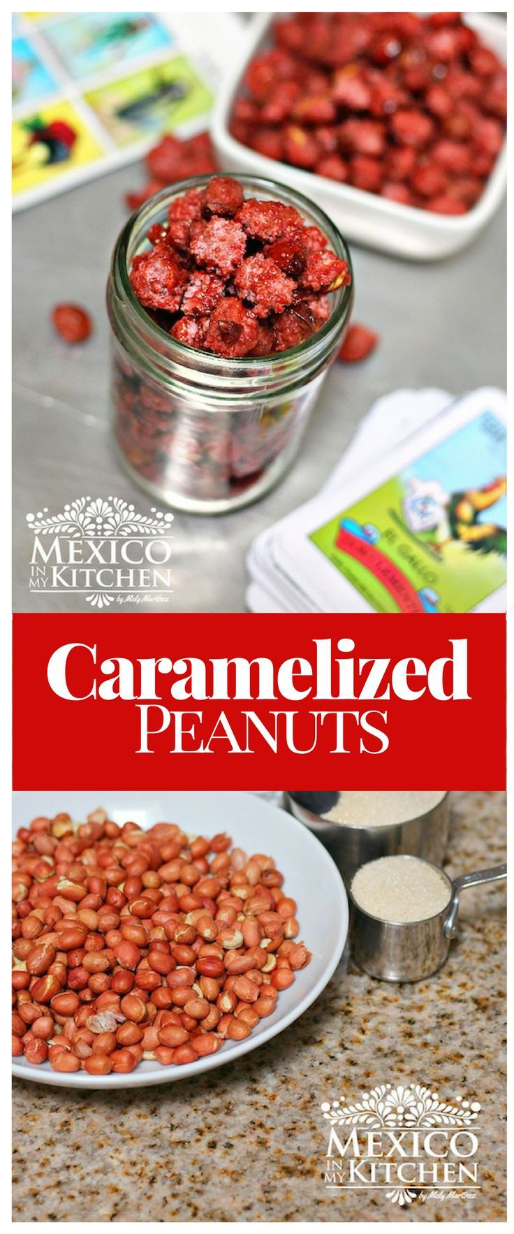 Caramelized or candied peanut are a simple-to-make snack that is sold outside public buildings, sport stadiums, parks and even outside schools all throughout Mexico. #recipe #food #mexican #kitchen