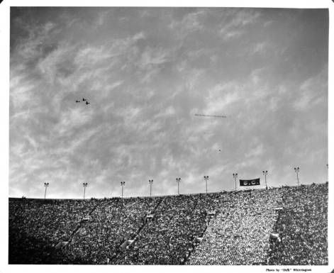 """Crowd at a University of Southern California (USC) football game at the Coliseum in Exposition Park :: """"Dick"""" Whittington Photography Collection, 1924-1987"""