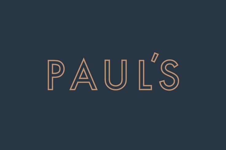 Inline, geometric, sans-serif logotype for Stockholm-based restaurant Paul's at Haymarket by 25AH, Sweden