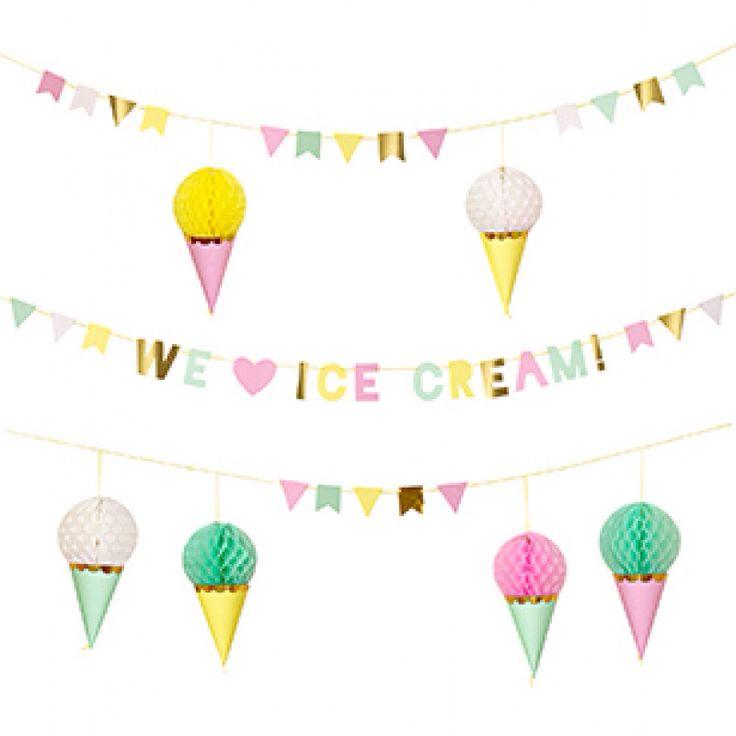 IJsjes en Donuts Thema - www.confettienco.be #decoratie #verjaardag #feest #kinderen #donut #ijs #webshop #slinger #honeycomb
