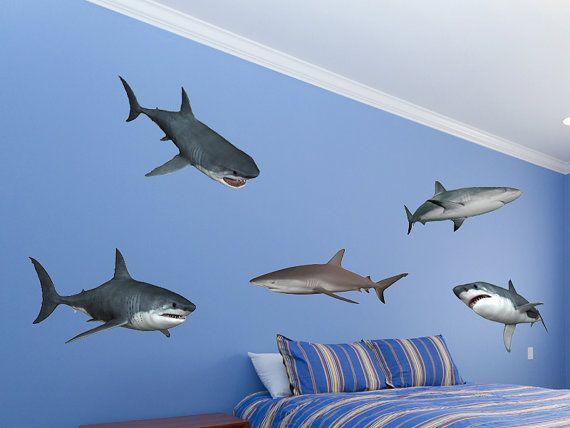 Beau Shark Wall Decal Set Great White Shark Wall Stickers By WallJems
