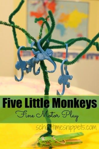 """Five Little Monkeys Nursery Rhyme with a Fine Motor twist-- we love this """"song""""!"""