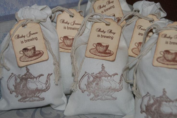 Baby Shower Tea Party Favor Bags 15 -Personalized Tea Party Favor Tags-Muslin Favor Bags-A Baby is Brewing by GreenAcresCottage on Etsy https://www.etsy.com/listing/208492147/baby-shower-tea-party-favor-bags-15