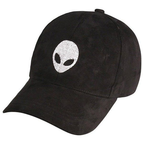 SUEDE ALIEN EMBROIDERY CAP ($13) ❤ liked on Polyvore featuring accessories, hats, embroidered hats, suede hat, embroidery caps, suede cap and embroidered caps
