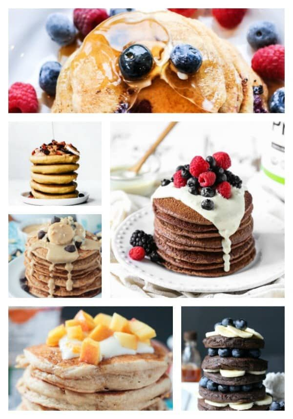 The Best Vegan Pancakes to make all of your breakfast dreams come true. All are dairy free and egg free. Some are gluten free, refined sugar free, nut free, and oil free. All are delicious! Whip up a batch today! #pancakes #pancakeday #fattuesday #mardigras #breakfast #brunch #eggfree  via @veggieinspired