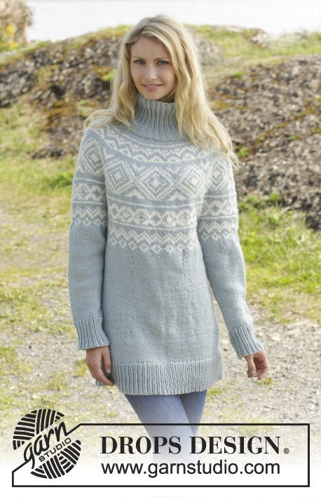 156-12, Knitted jumper with Norwegian pattern and round yoke worked top down in Nepal free pattern