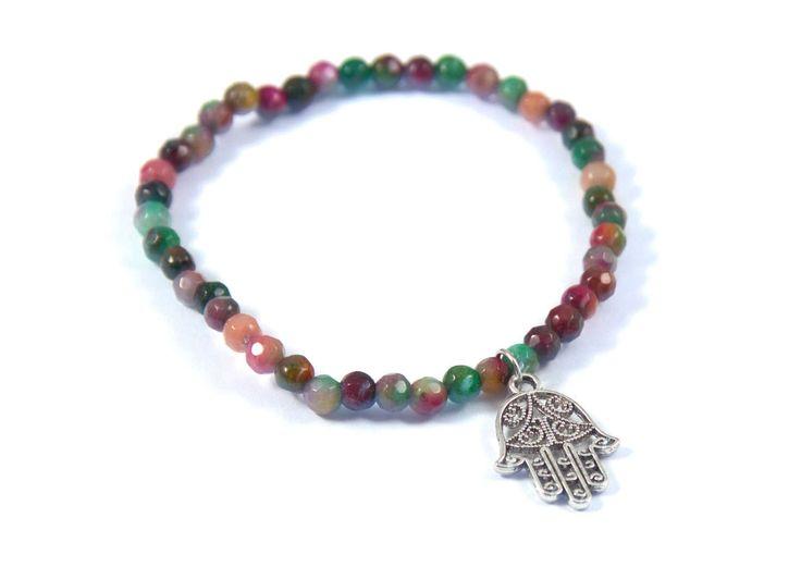 Multi-Colored Jade Hamsa Charm Bracelet, Hamsa Hand, Semi Precious Jade Beads, Hypoallergenic, Lead and Nickel Free by BeyondtheWire on Etsy