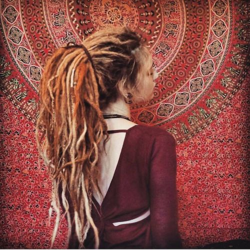 Dreads pony tail girl boho hippie                                                                                                                                                     More