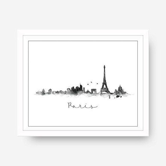 Black and White Watercolor Paris Skyline Illustration Digital Prints♥  No need to wait for shipping, this print is ready to download right