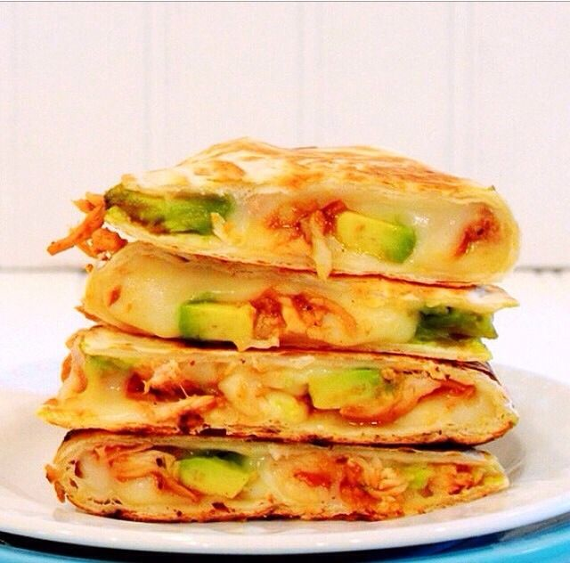 HEALTHY BBQ Chicken Avocado Quesadilla !! YUM-YUM