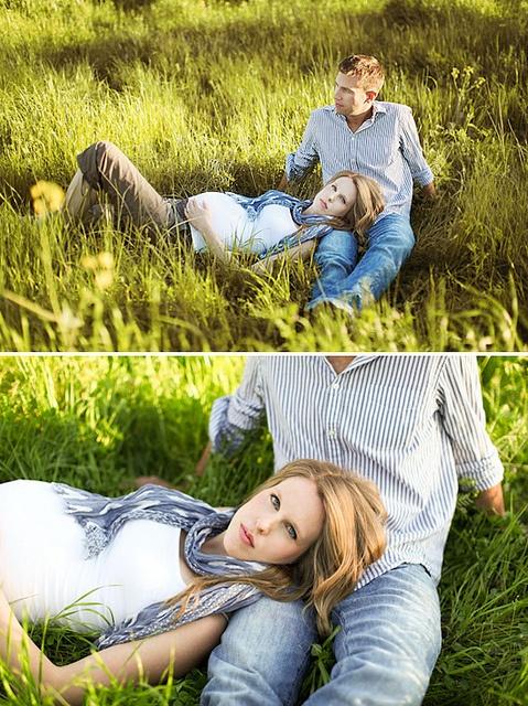 side belly shot, couple, lying down, head in lap