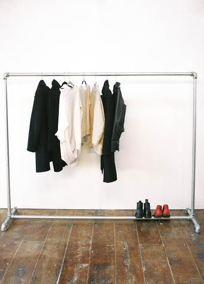 Commercial Clothing Rack by George & Willy  | Made from 30mm Galvanised steel pipe and industrial clamps. | Measuring 160cm high and 200cm wide. The feet are 50cm wide.