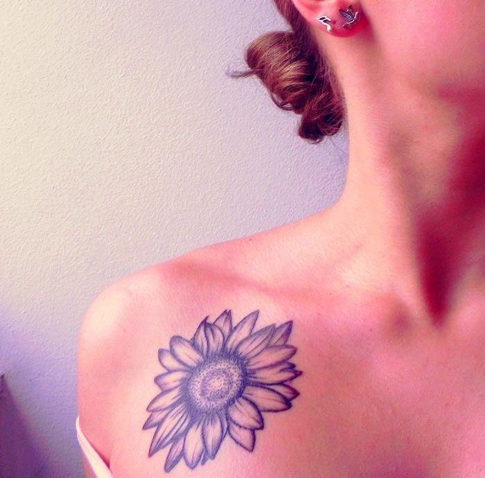sunflower tattoo on shoulder