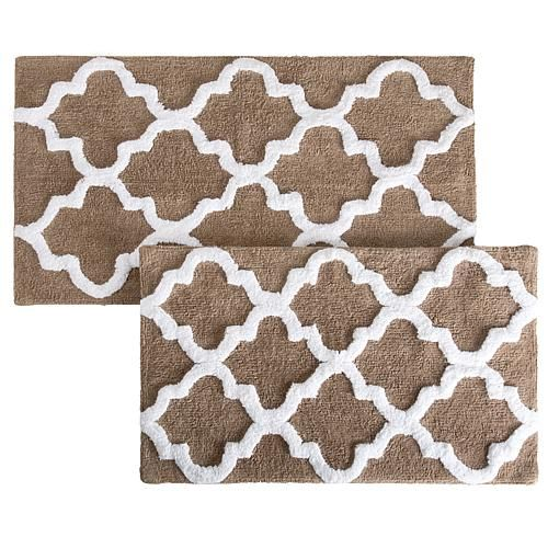 Trademark Global Lavish Home 100% Cotton Trellis 2-piece Bathroom Mat Set - Ivory/Off White