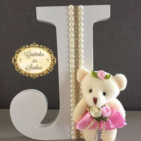 Letra 3D personalizada para quarto de menina #letras #letra #letra3d #personalizados #ursos #ursinho #quartodebebe #quartodemenina #decor #decorbaby #menina #mamaeama