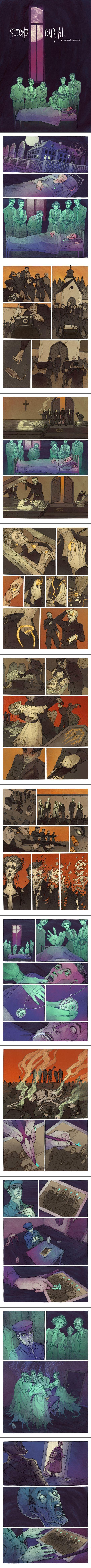 http://www.deviantart.com/art/Second-Burial-537444941 #Horror short story, click to view entire comic.