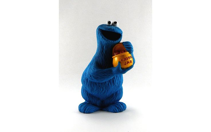 Vintage Jim Hanson Sesame Streets Coin Bank - Cookie Monster Piggy Bank - 1990 Muppet's Inc - Chocolate Chip Cookies - 9 1/2 Inches Tall