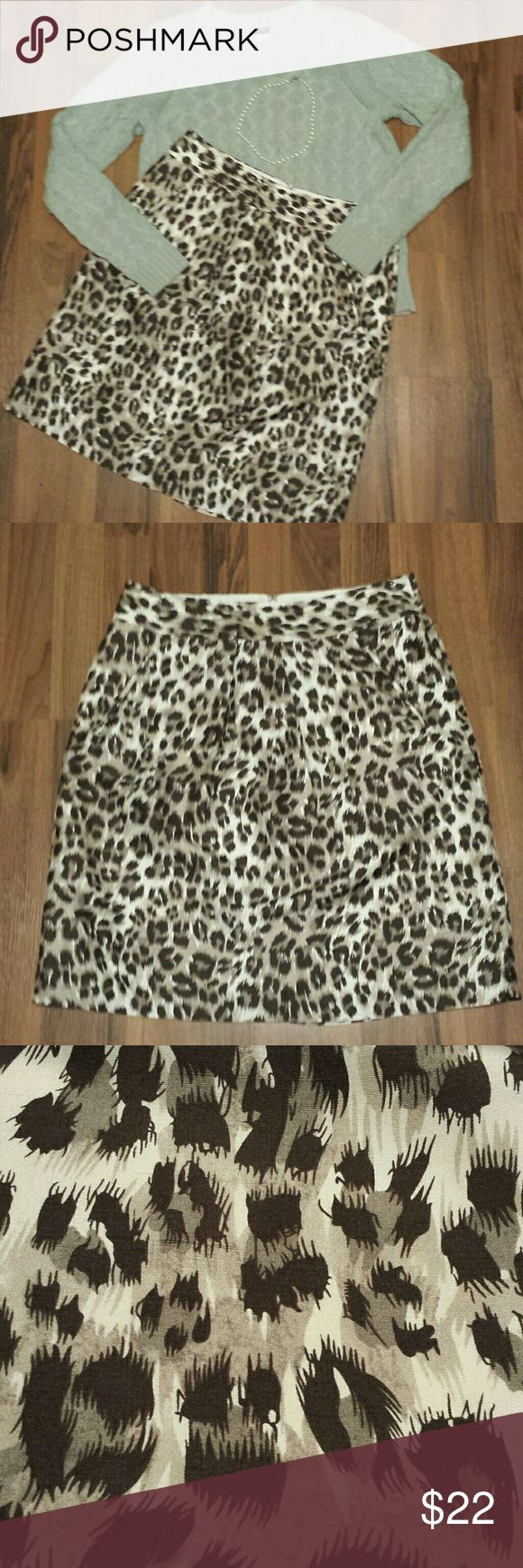 {Banana Republic} Silk Skirt This leopard print, 100% silk skirt from Banana Republic is ultra luxe!! Beautiful condition, worn once, no blemishes or signs of wear. Dress this up with pearls & a cashmere sweater or with a crop denim jacket & flats. Very versatile, this skirt takes you from the office to date night depending on your styling. Fully Lined has back zipper & hook/eye closure. Simple pleat in front & pockets. Measurements: Length 23, Waist 16 & Hips 23. Offers Welcome! Banana…