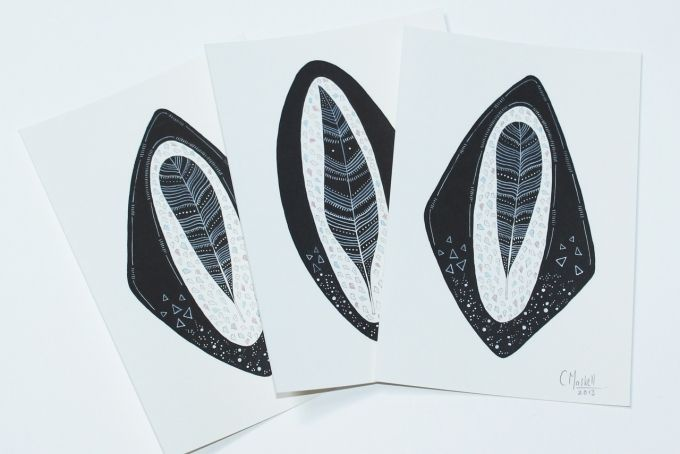 Postcard size Feather prints by We Flock