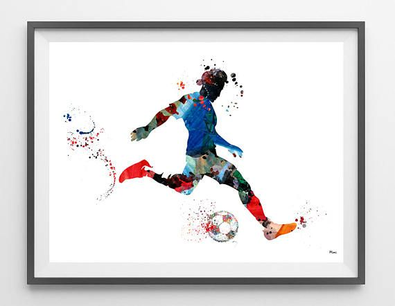 Soccer Player Watercolor Print Football Soccer Player Dribbling The Ball and Taking A Shot At The Goal Poster Soccer sport art wall decor [219] This is a fine art watercolor print of my original handmade watercolor, digitally reworked. ♥ MATERIALS: High quality fine art prints (Giclee),