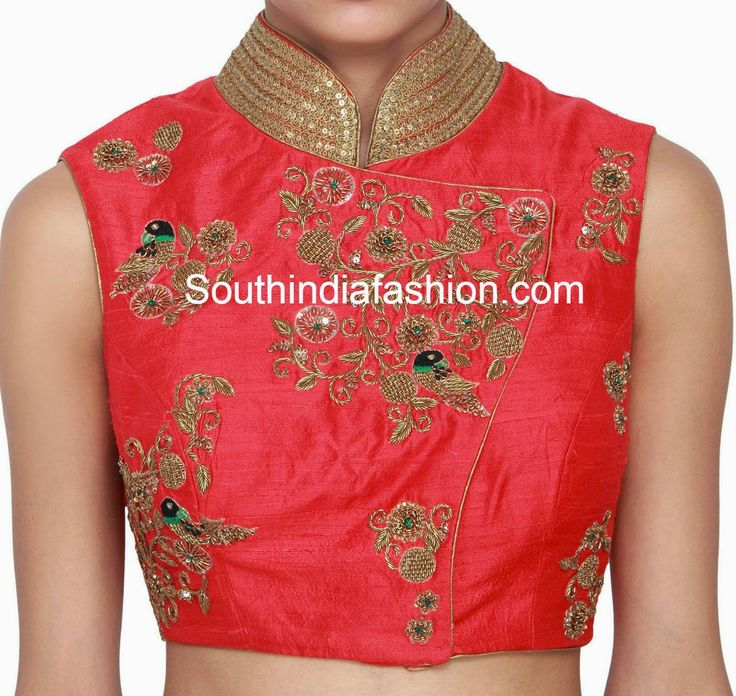 Raw silk collar neck blouse featuring beautiful parrot and floral design zardosi work and embellished with sequins over the collar. Related PostsCollar Neck Net Blouse DesignsTrendy Collar Neck Designer BlouseHigh Neck Raw Silk BlouseParrot Design Zardosi Work Blouse