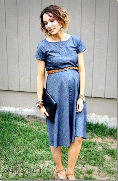 Chambray dress maternity style for Spring and Summer from eShakti