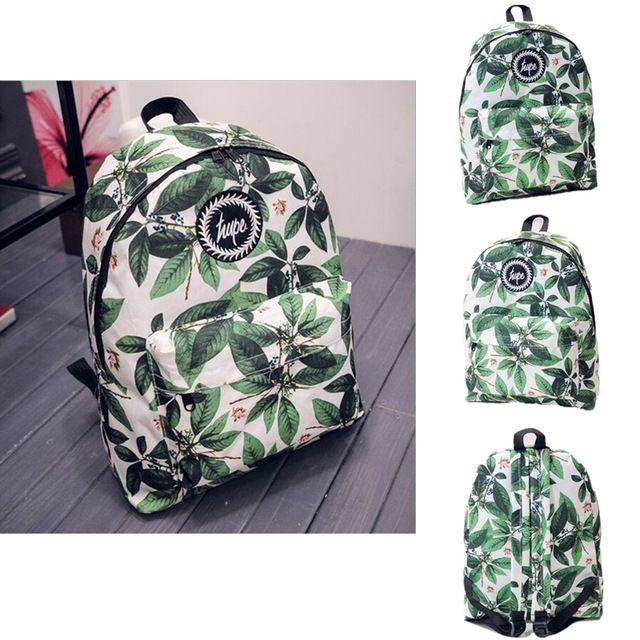 Heti 2015 горячие мужчины и женщины печать оставляет рюкзаки mochila рюкзак мода холст сумки ретро свободного покроя школьные сумки дорожные сумки