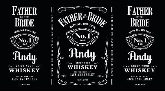 Etiquetas de whisky Jack Daniels personalizado estilo